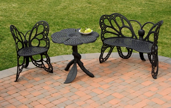 outside black butterfly chair set